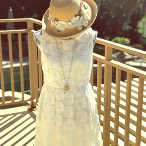 🌼Darling cream sunflower lace dress with liner.